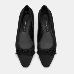 NWT Zara Captoe Almond Toe Bow Ballet Flats 8
